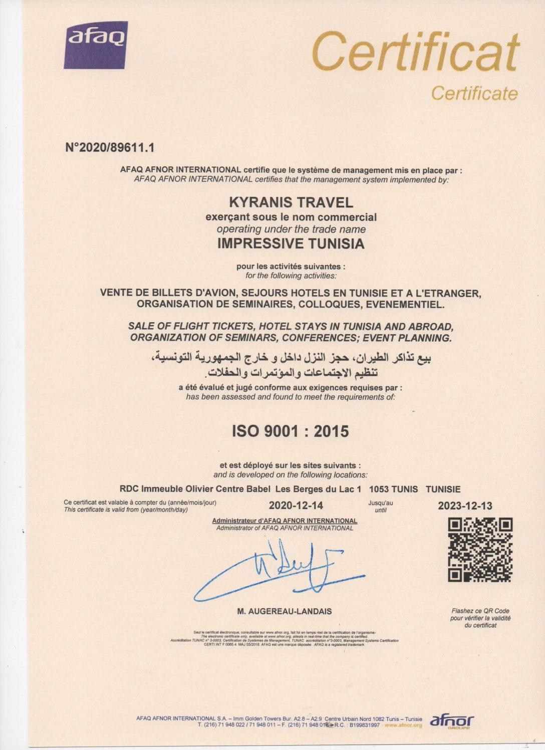 IMPRESSIVE TUNISIA CERTIFIÉE ISO9001:2015